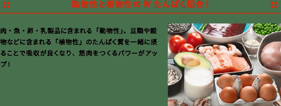 動物性と植物性のWたんぱく配合! 肉・魚・卵・乳製品に含まれる「動物性」、豆類や穀物などに含まれる「植物性」のたんぱく質を一緒に摂ることで吸収が良くなり、筋肉をつくるパワーがアップ!